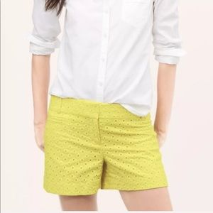 LOFT The Riviera Yellow Eyelet Shorts